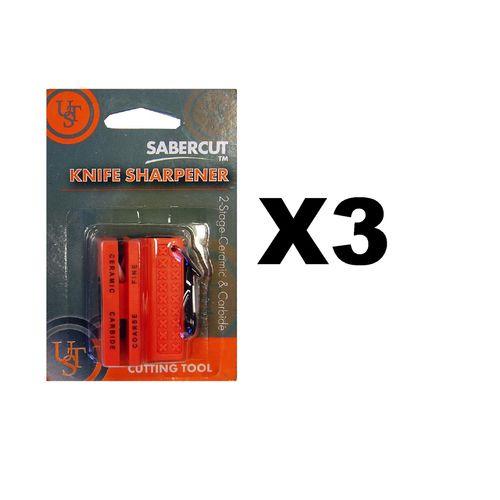 Ultimate Survival Technologies Ceramic Knife Sharpener Orange w/Carbide (3-Pack)