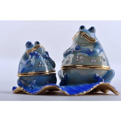 Faberge 2 Happy frogs trinket box by Keren Kopal Swarovski Crystal: