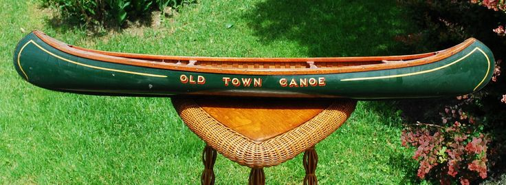"Rare Antique 48"" Green Salesman Sample Store Display Old Town Canoe Circa 1920's"