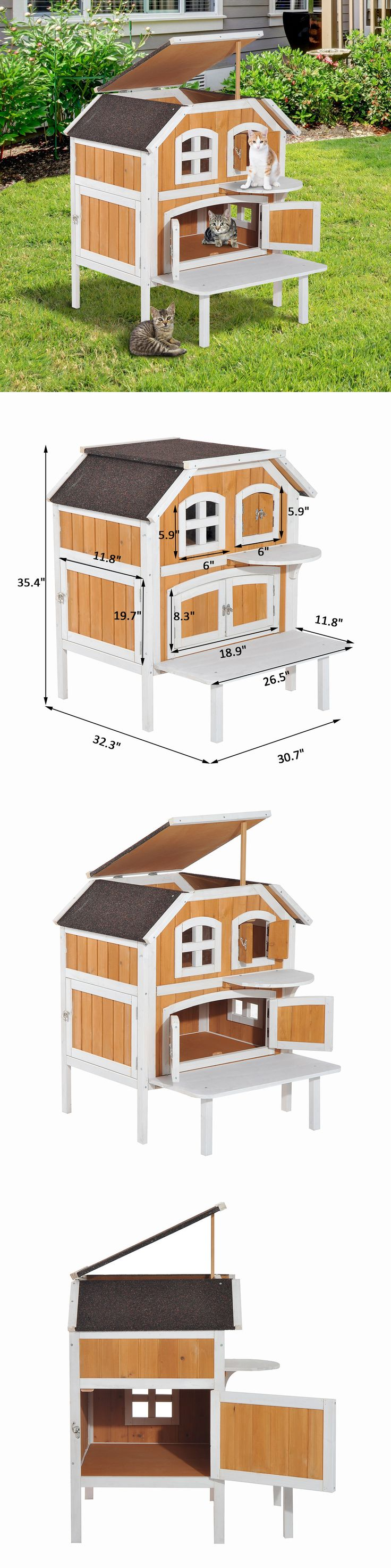 Furniture and Scratchers 20740: 2-Story Wooden Raised Elevated Cat Cottage Pet House Indoor Outdoor Kennel -> BUY IT NOW ONLY: $109.99 on eBay!