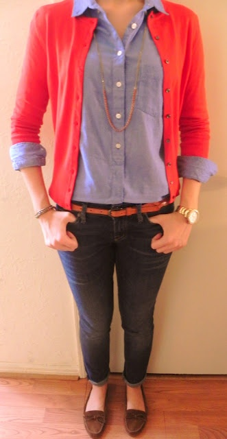 Blue button down, orange cardigan,and a gold watch...I think this is a great casual friday outfit for school or the weekends!