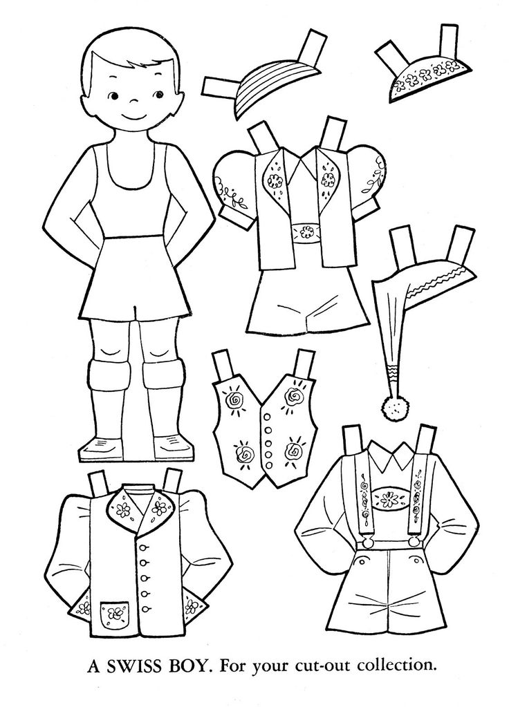 Outlines of dress up dolls different colountries Paper
