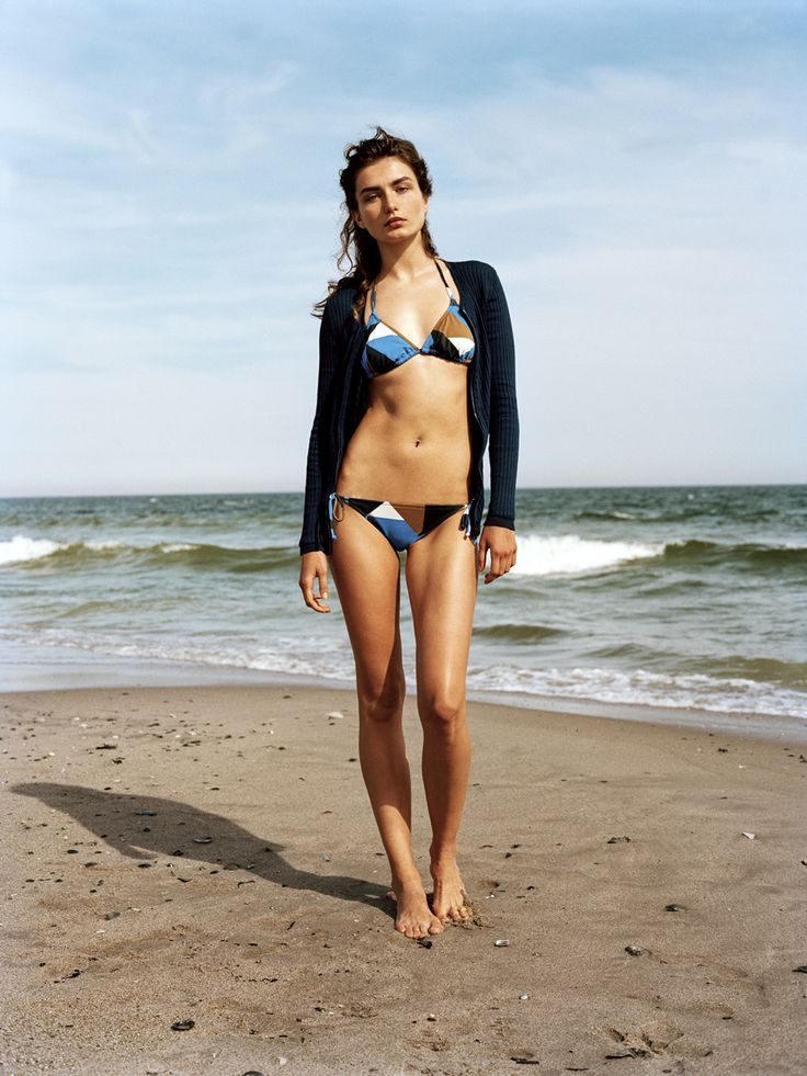 Triangles on triangles: The metabikini is summer's new essential.Andreea Diaconu in a J.Crew swimsuit and Courrèges sweaterJ. Crew cubist-print string top, $52jcrew.comJ. Crew cubist-print string hipster, $44jcrew.comLocation: Rockaway Beach