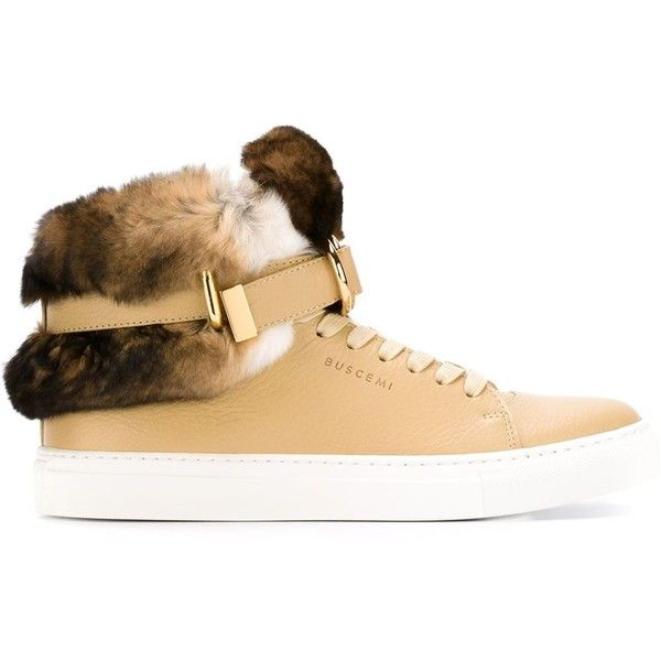 Buscemi Rabbit Fur Detail Hi-Top Sneakers (40.850.690 VND) ❤ liked on Polyvore featuring shoes, sneakers, high top shoes, buscemi sneakers, high top trainers, hi tops and high top sneakers
