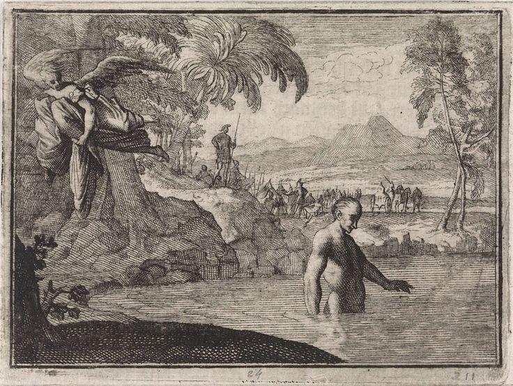 Caspar Luyken   Engel vliegt weg met de kleding van een badende koning, Caspar Luyken, Christoph Weigel, 1704  
