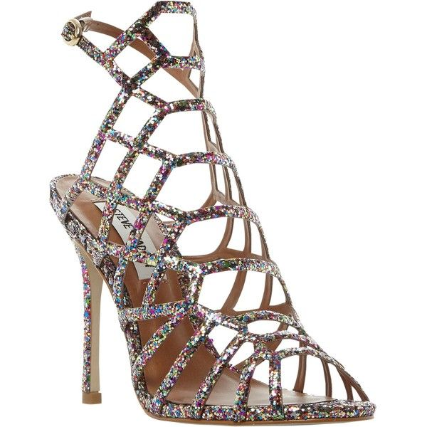 Steve Madden Slithur High Heeled Cage Sandals (£40) ❤ liked on Polyvore featuring shoes, sandals, glitter, high heeled footwear, low heel stilettos, glitter stilettos, glitter flat shoes and glitter flat sandals