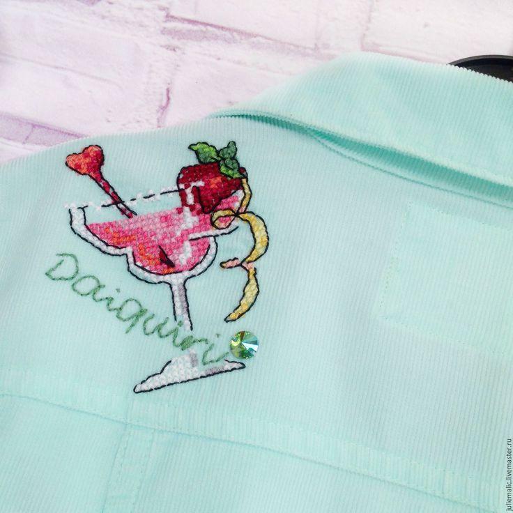 Купить Дизайнерская куртка с ручной вышивкой, хлопковый вельвет - куртка женская, ветровка, легкая куртка