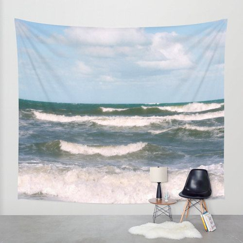 Waves tapestry, ocean photo tapestry, nautical tapestry surfing wave wall hanging, coastal large wall decor beach tapestry, nature tapestry