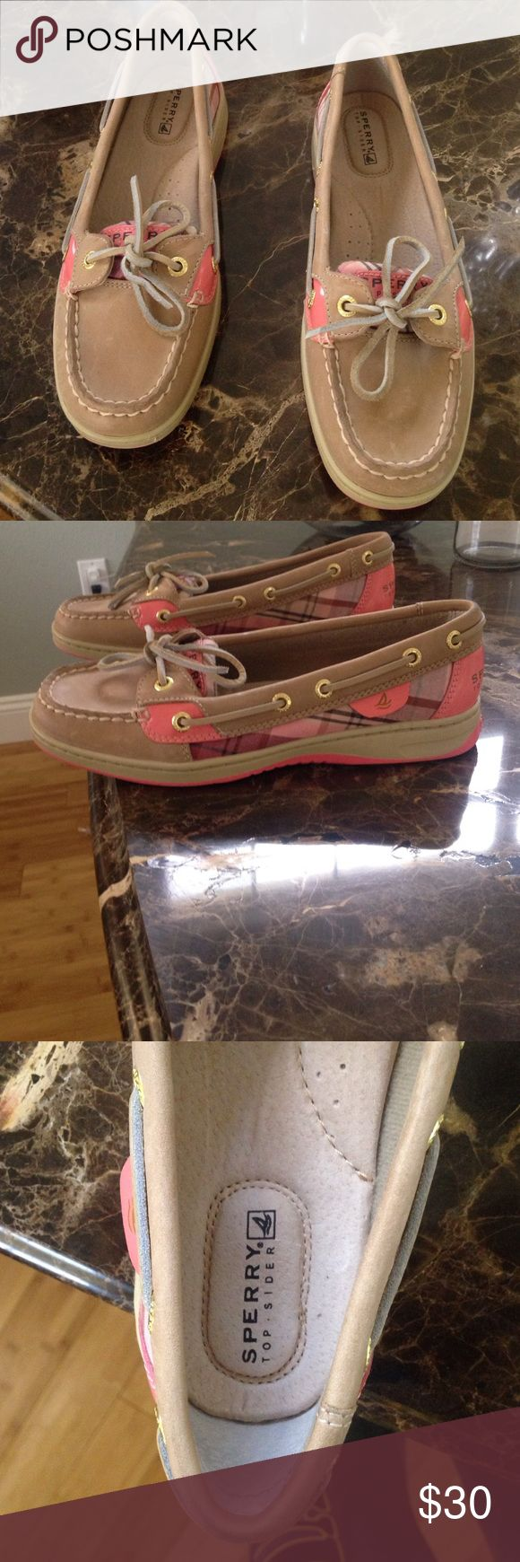 Sperry top sider loafers Pink and brown sperry top sider loafers. Size 6. Impulse buy. Never worn Sperry Top-Sider Shoes Flats & Loafers