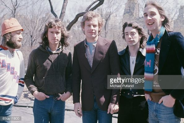 English progressive rock group Genesis in Central Park, New York City, 20th April 1976. From left to right: singer Phil Collins, keyboard player Tony Banks, drummer Bill Bruford, guitarist Steve Hackett, and bassist Mike Rutherford.