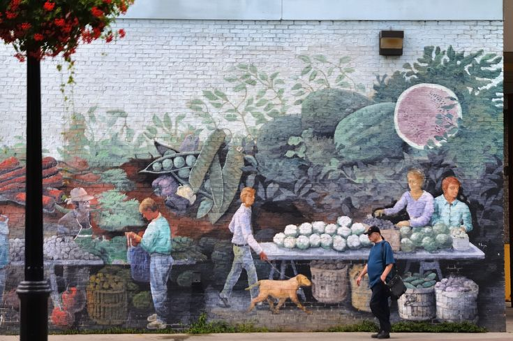 https://flic.kr/p/PCebt9 | Farmers' market mural, St Lawrence Market North Building, Toronto | As of late 2016, the mural is gone: demolition of this building was completed on 16 November and archeological assessment of the site is in progress. A new high-tech $58.1-million replacement was to have been completed in 2014(!). A temporary (sic) farmers' market and antiques facility has been provided nearby.  ---- Sigma 24-70mm 1:2.8 DG HSM EX  _DSC1656 Anx2 1400h Q90