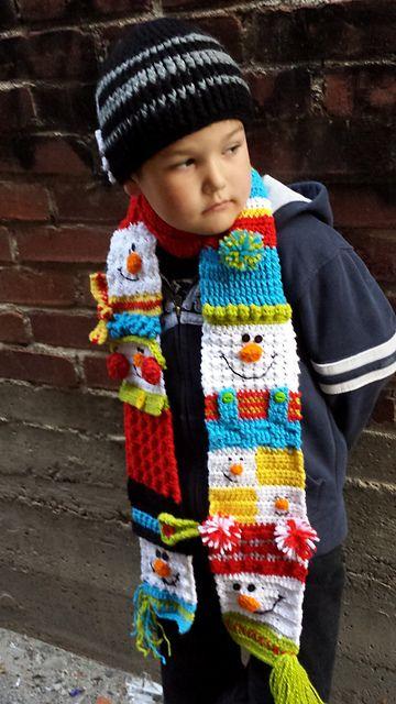 Ravelry: Snappy Sampler Snowman Scarf pattern by Heidi Yates