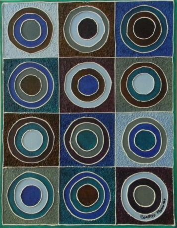 This artwork is based on the belief that life is a circle. Life starts with birth and ends with death.The artwork is a part of the tri-series done on Canvas Board and has embossed outline.The entire back ground is textured.