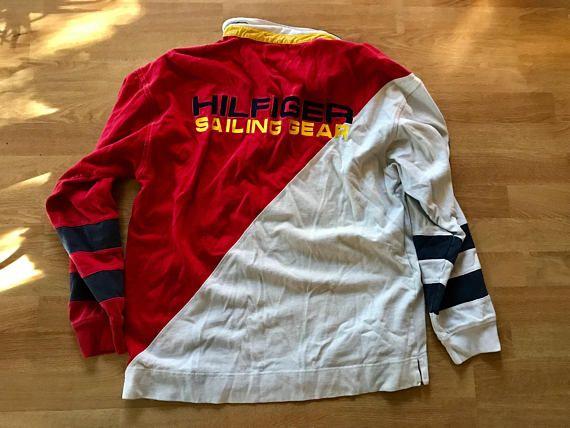Vintage Tommy Hilfiger shirt / 90s colorblock sailing gear