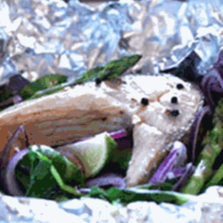Ørred i folie med rødløg, spinat og asparges