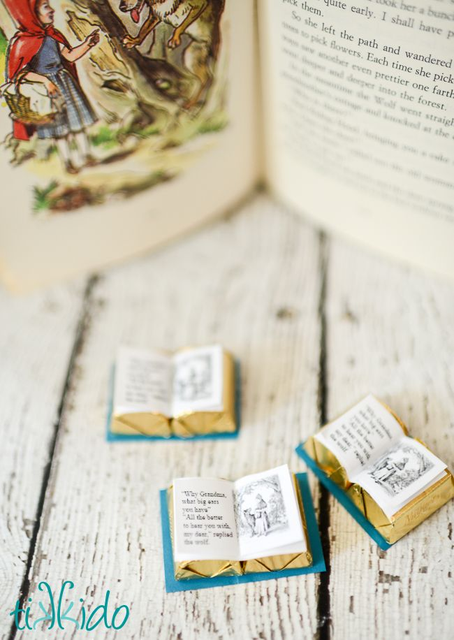 Miniature Chocolate Little Red Riding Hood Book Favor with Free Printable | Tikkido.com