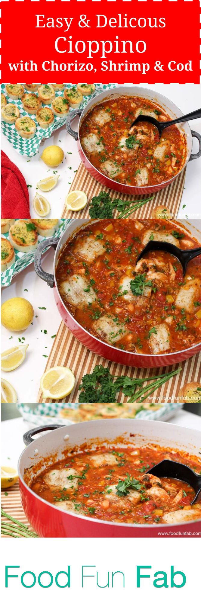 So good. So declious. This will make you wish everday was Fish Friday! You gotta try this lip smacking, tongue tingling delicious cioppino recipe.  #cioppino #foodfunfab #foodblogger #foodblogs