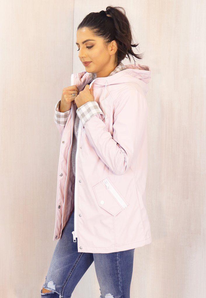 c7b8a10f5 Kimmy Matte Rubberised Hooded Raincoat Mac in Lilac Pink | www ...