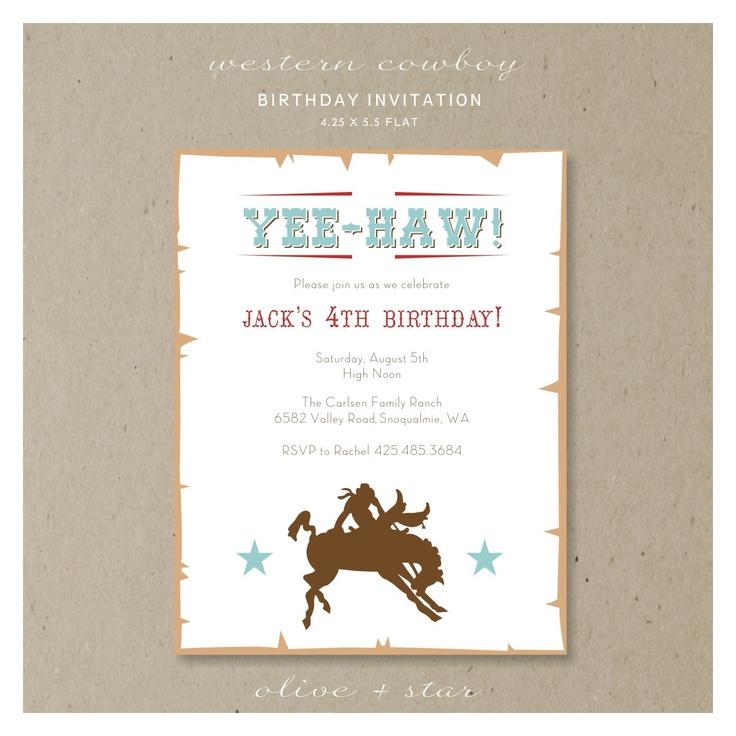 western cowboy  :  birthday invitation set. etsy