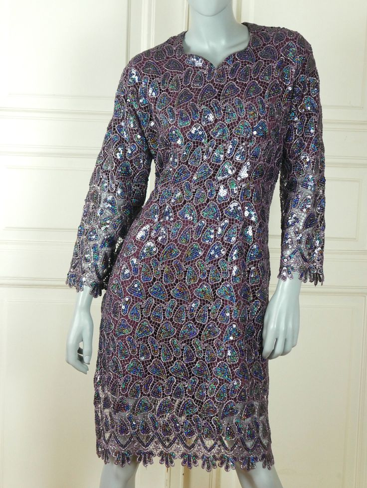 French Vintage Purple Silver Sequin Evening Dress w Scalloped Hemlines, Elegant Cruise Party Dress: Size 12 US, Size 16 UK by YouLookAmazing on Etsy