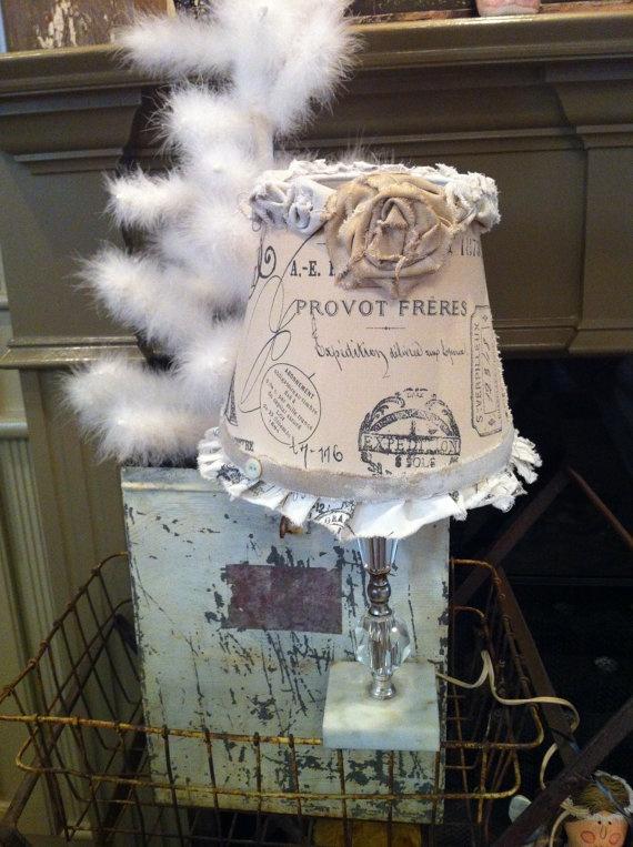 Shabby Chic Farmhouse lamp shade by AliLej on Etsy