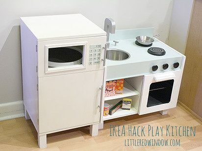 Make a play kitchen from Ikea nightstands. | 31 Brilliant Ikea Hacks All Parents Should Know....I still need a fridge...hummm.