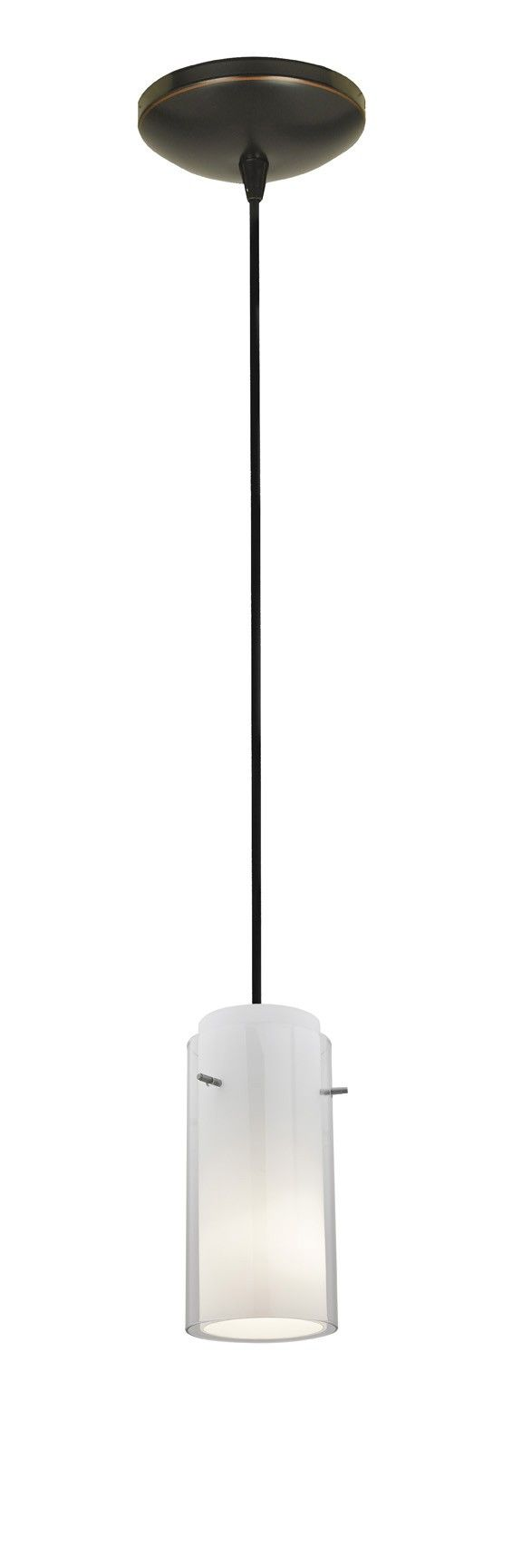 Access Lighting 28033-1C-BS/CLCB Sydney Glass in Glass Cylinder Pendant