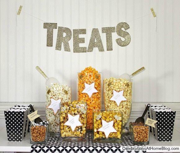 Pas de cinema sans popcorn ! Un bar a popcorn, parfait pour un anniversaire theme cinema
