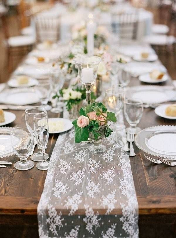 Romantic lace table runner with glass place settings on a farmhouse table.