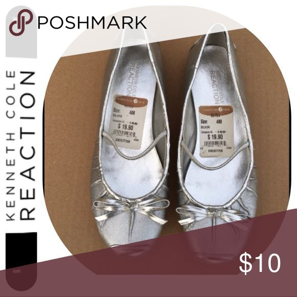 Silver flat shoes Kenneth Cole reaction silver flat shoes  Used only once by my younger daughter at my older daughter's wedding my baby love ❤️️ this , but it has to pass on to a young girl.. . Still look new , neat and shinny , from  Nordstrom store Kenneth Cole Reaction Shoes Dress Shoes