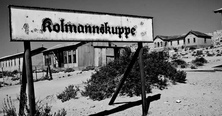 The original sign to Kolmanskop, Namibia, a mining town abandoned in 1954. #namibia