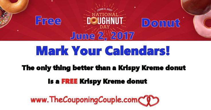 Free Krispy Kreme Donut for National Donut Day ~ June 2, 2017. Mark your calendar and check for participating locations near you. Happy National Donut Day!  Click the link below to get all of the details ► http://www.thecouponingcouple.com/free-krispy-kreme-donut-for-national-donut-day-june-2-2017/ #Coupons #Couponing #CouponCommunity  Visit us at http://www.thecouponingcouple.com for more great posts!