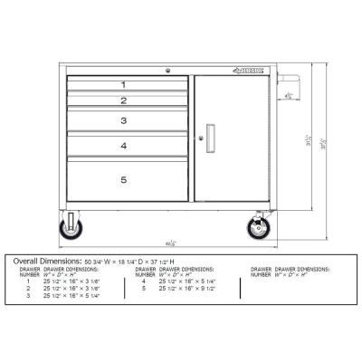 Husky 46 in. 5-Drawer and 1-Door Stainless Steel Mobile Workbench-HOTC4605J0AD - The Home Depot