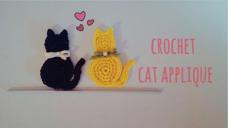 How to crochet a cat applique | English tutorial