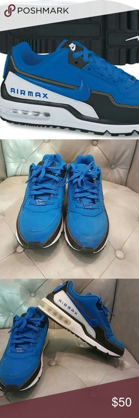 Mens NIKE air max Ltd Blue/Black sneakers sz,8 Nike air max ltd  royal blue black and white in very good condition worn a couple of times mens sz,8   Feel free to ask any questions you may have. I accept all reasonable offers. Thank You! Happy Poshing! Nike air max ltd Shoes Sneakers