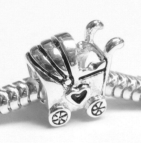 Queenberry Sterling Silver Lover Heart Baby Carriage Cart Bead Charm For Pandora Troll Chamilia Biagi European Jewelry: Amazon.co.uk: Jewellery