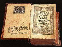 Die erste vollständige Bibel-übersetzung von Martin Luther 1534, Druck Hans Lufft in Wittenberg, Titelholzschnitt von Meister MS/the first completebible translation by Martin Luther (1534)