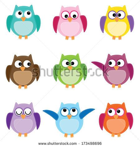 Group of nine owls in different colors on white background - stock vector