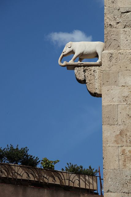 A detail of the Torre Dell'elefante, The Elephant tower in Cagliari, Sardinia, Italy