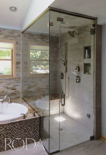 Check out this recent installation of a floor-to-ceiling Celesta door u0026 panel with a transom in Clear glass and Brushed Nickel finish. & 57 best Basco Door Installations images on Pinterest | Shower cabin ...