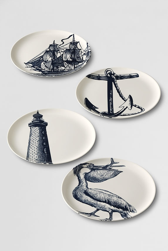 Landsu0027 End Scrimshaw Side Plates | New York Designer Thomas Paul created the prints. & 140 best Nautical inspired images on Pinterest | Skirts Anchor and ...