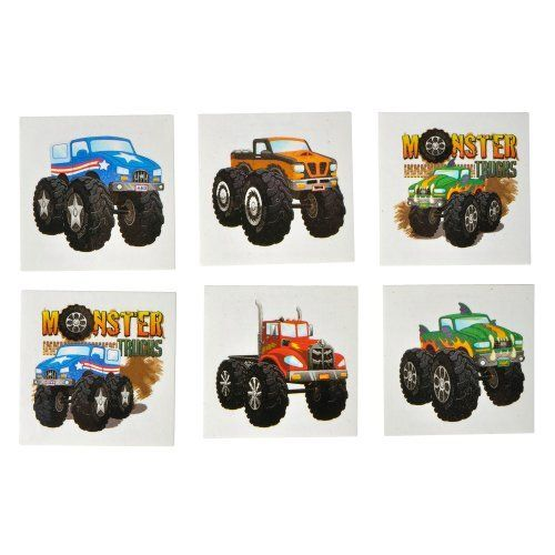 Monster Truck Tattoo Assortment (6 dz) by Rhode Island Novelty. $3.99. Non Toxic.. 6 Dozen Monster Truck Tattoos.. Tattoos Measure 2 Inches.. Easy to Apply & Remove.. Instructions on Adhesive Back.. Looking for the perfect tattoos for your Monster Truck party? Kids of all ages will love getting one of these Monster Truck Tattoos! Perfect for little drivers!
