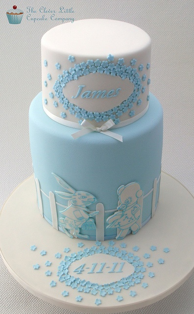 Bunny and Bear Christening Cake by The Clever Little Cupcake Company (Amanda), via Flickr