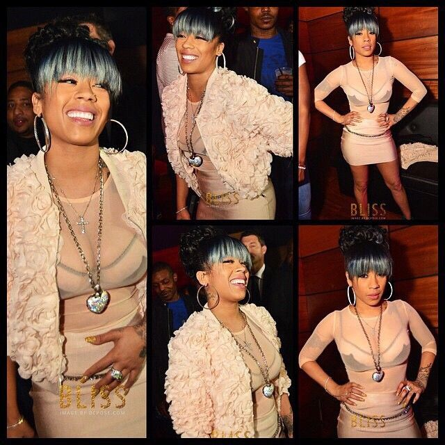 Keyshia Cole was another starlet who rocked grey bangs with style.