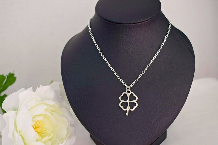 Silver Clover Necklace - Irish Jewelry - Four Leaf Clover Charm Necklace - Good Luck Jewelry - Shamrock Necklace - Nature Jewelry by SkadiJewelry on Etsy