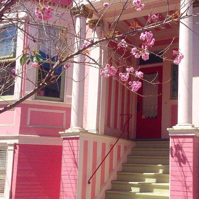 144 vind-ik-leuks, 11 reacties - @home_schooling op Instagram: 'Pink blossoms to match a pink house. I just want to sit on these steps and eat ice cream all day.…'