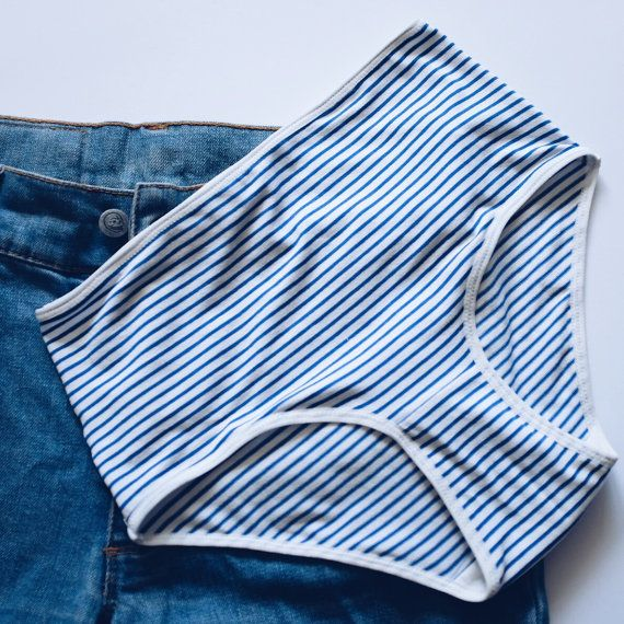 Striped panties. Blue and white colors. High style panties.