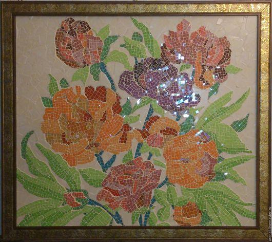 """Панно """"Цветики"""", сделанное из керамики и стеклянной мозаики в мозаичной технике. В раме. С удовольствием сделаю аналог на заказ, точное повторение невозможно. В реальности выглядит намного красивее, чем на фото. Мозаика - это великолепное украшение Вашего дома и прекрасный подарок на любой случай! Материалы:керамика, стеклянная мозаика. Размер: 88(ш)*100(д)см."""