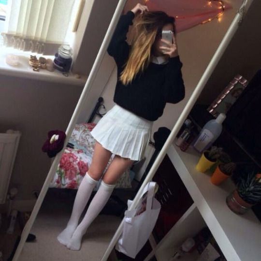 Selfies Dressed Up - Pleated Mini Skirted Girl In 2019