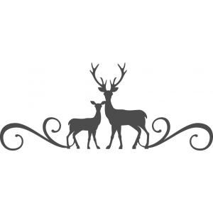 Silhouette Design Store - View Design #101608: deer family flourish border